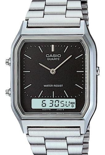 relógio casio unissex vintage prata aq-230a-1dmq