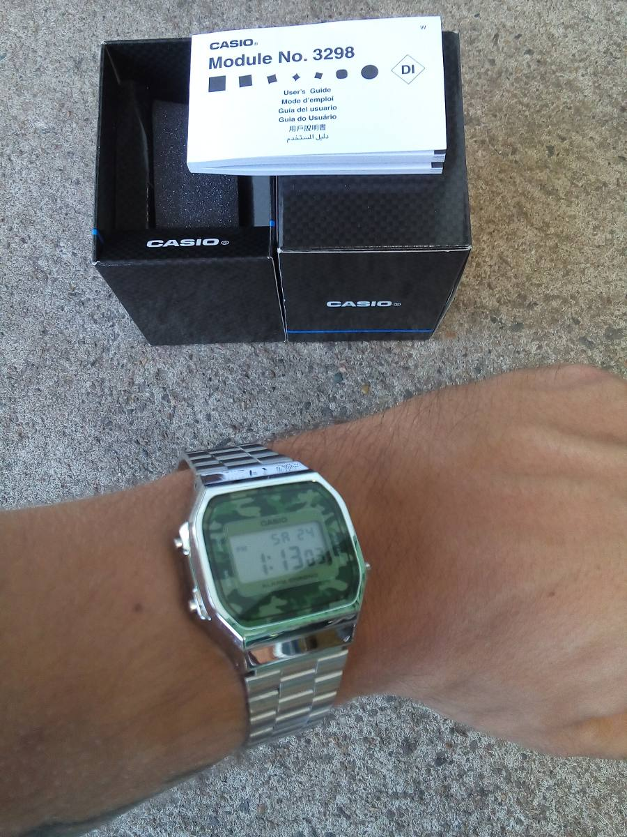 e6024ece408 relógio casio vintage a168 prata silver camuflado original. Carregando zoom.