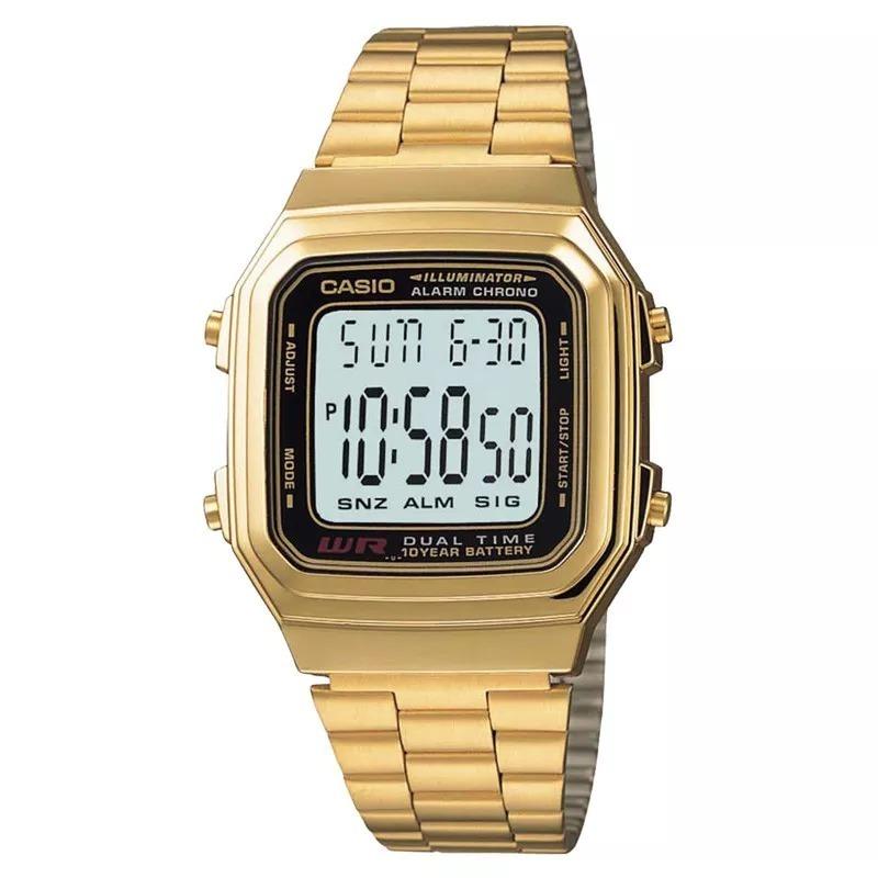 d34d25bb598 Relógio Casio Vintage A178wga-1adf Dourado Digital Original - R  389 ...