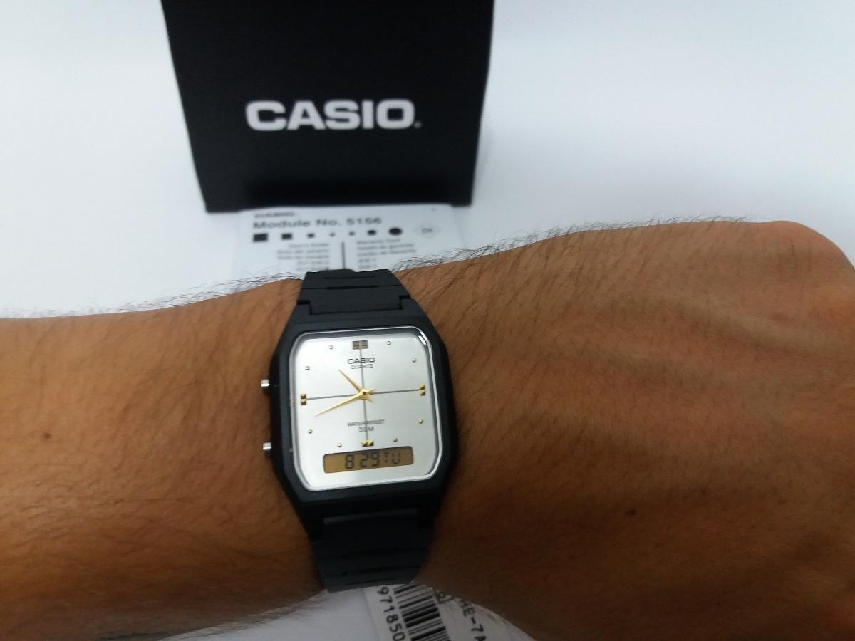 0f03b68b250 relógio casio vintage aw-48he-7avdf preto branco original. Carregando zoom.