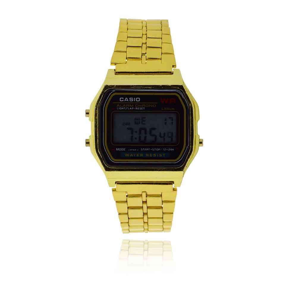 92cf7613aba relogio casio vintage digital visor preto e pulseira dourada. Carregando  zoom.