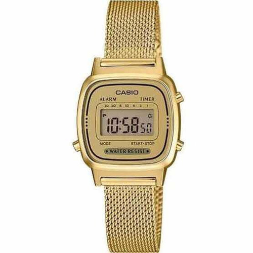 relógio casio vintage feminino la670wemy-9df pulseira malha