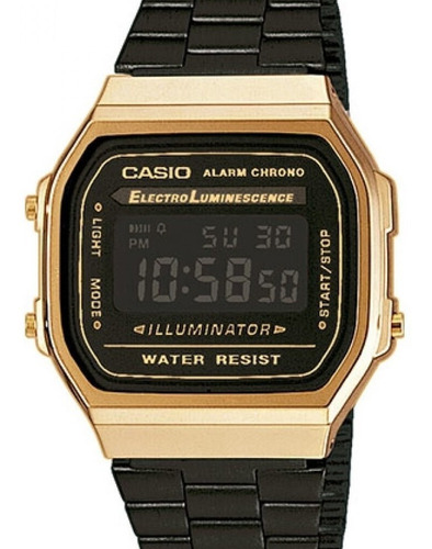relógio casio vintage feminino  preto -  a168wegb-1bdf