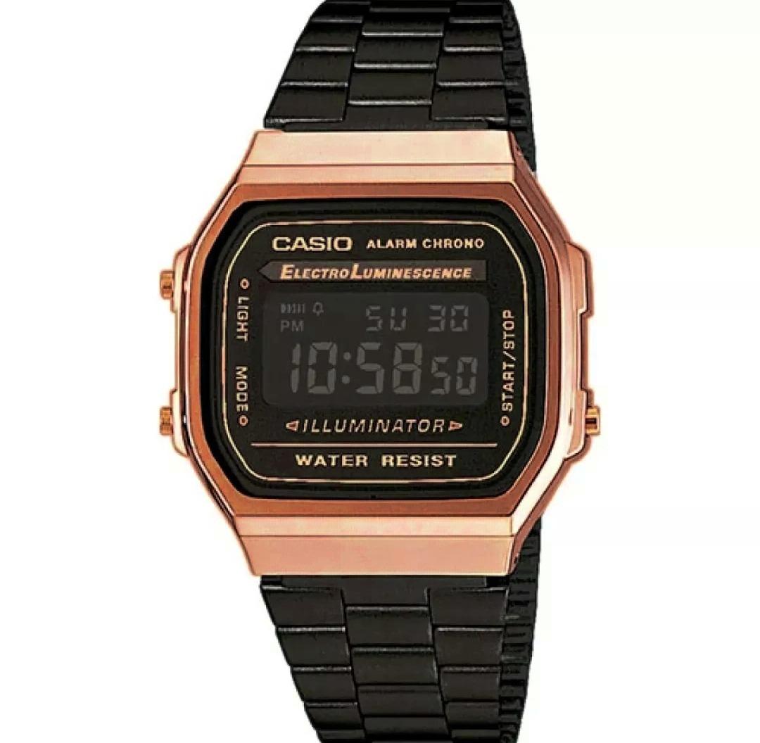 0187b9d396c relógio casio vintage original unissex preto com rosé. Carregando zoom.