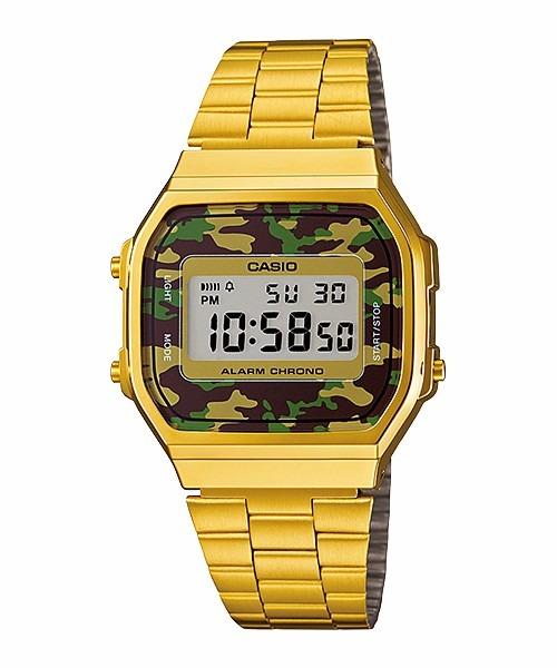 ac5684265a1 Relógio Casio Vintage Retro A168wegc-3df Dourado Camuflado - R  338 ...