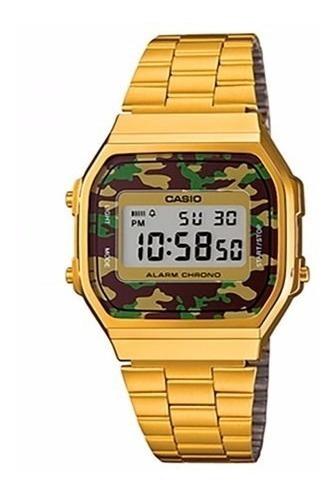 relógio casio vintage retro a168wegc-3df dourado camuflado