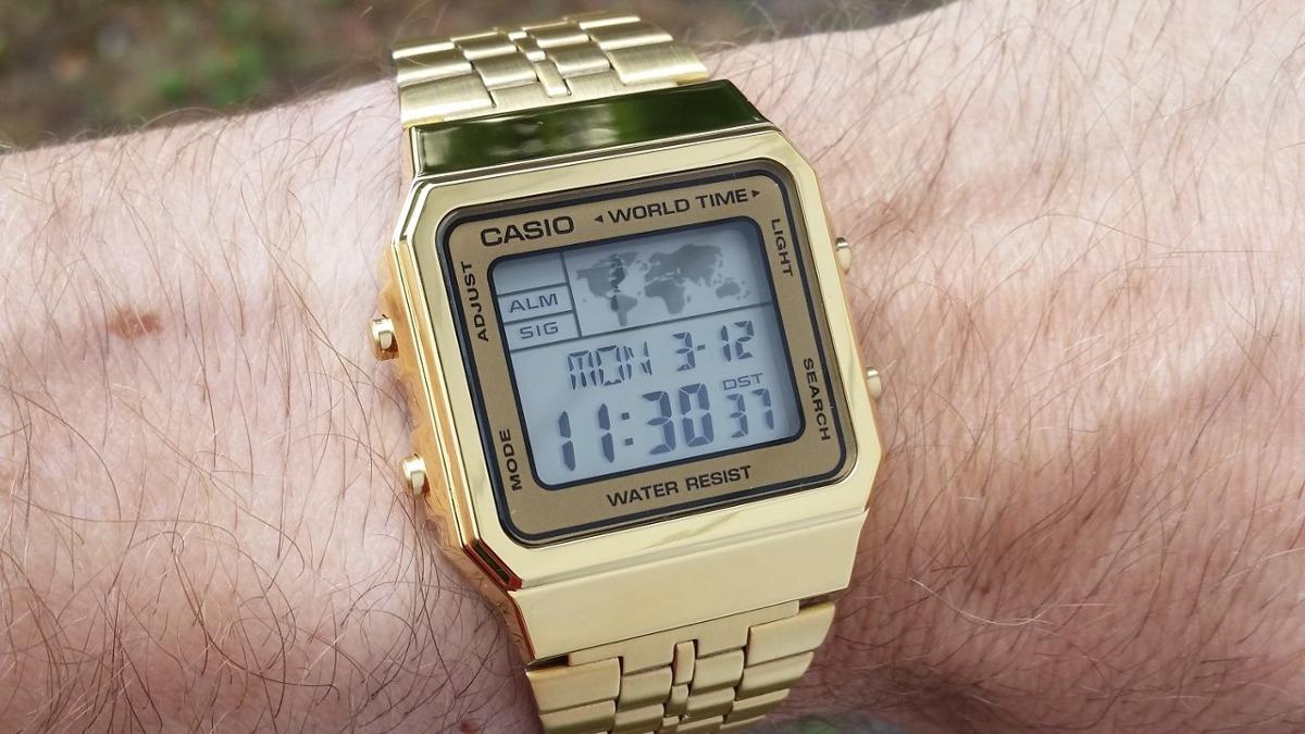 c57adede4c3 relógio casio vintage retro a500wga-9 dourado a500 original. Carregando zoom .