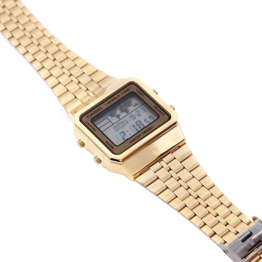 e2d2a1a6ced relógio casio vintage retro a500wga-9 dourado original. Carregando zoom.
