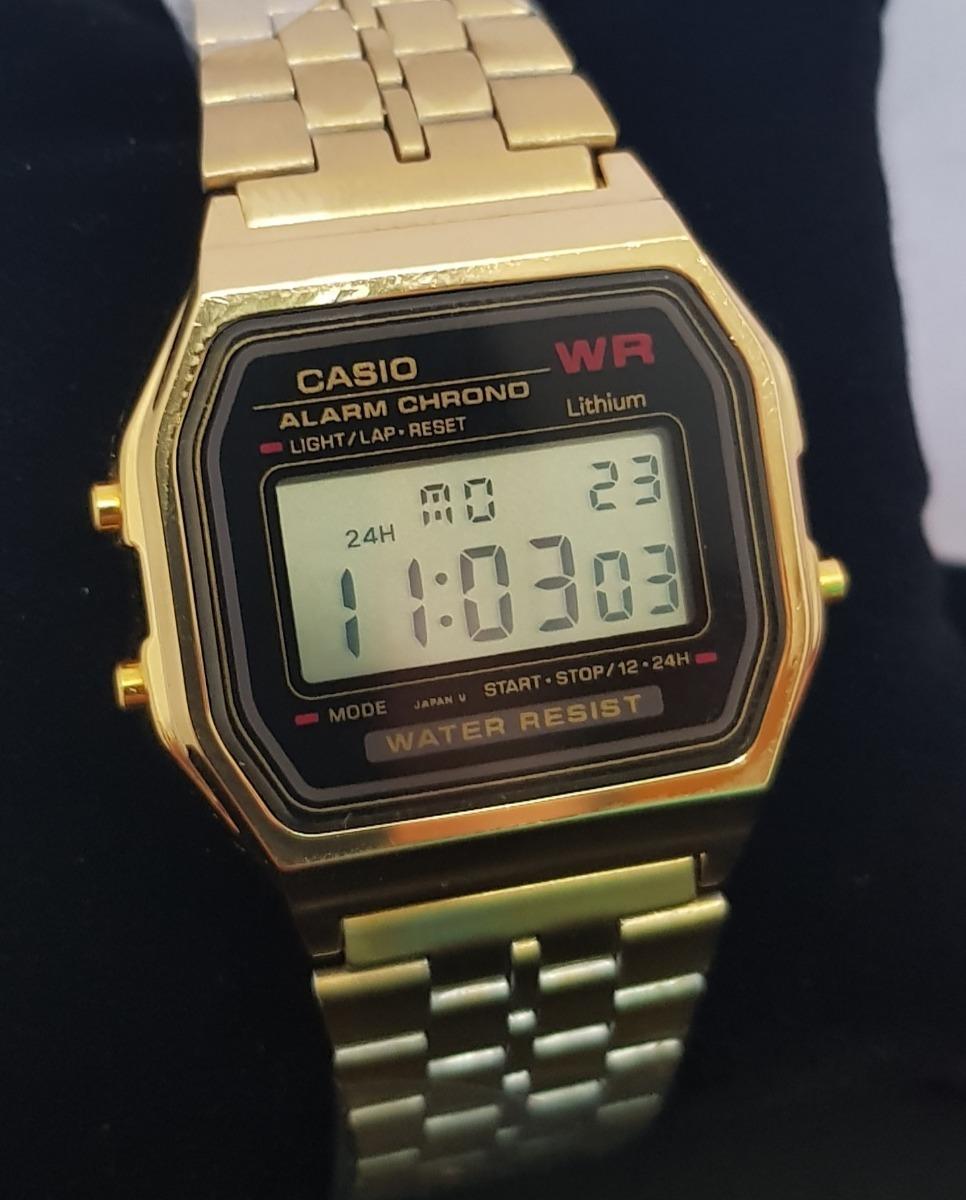 6d60eab7473 relógio casio vintage retro digital barato a159 dourado + nf. Carregando  zoom.