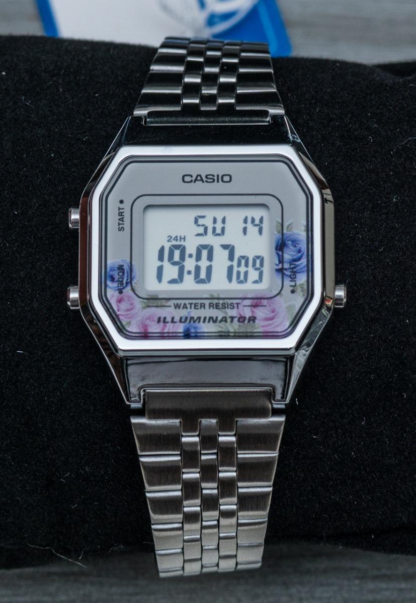 39e2a4e08a0 relógio casio vintage retro la680wa prata floral lançamento. Carregando zoom .