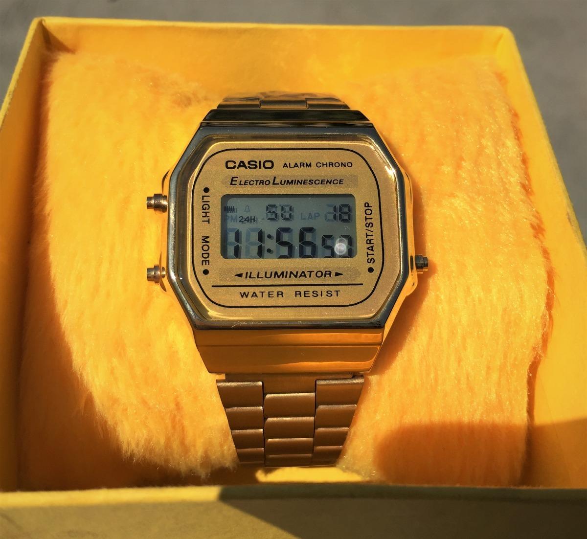 684391b94e4 relógio casio vintage retro modelo a168 dourado original. Carregando zoom.