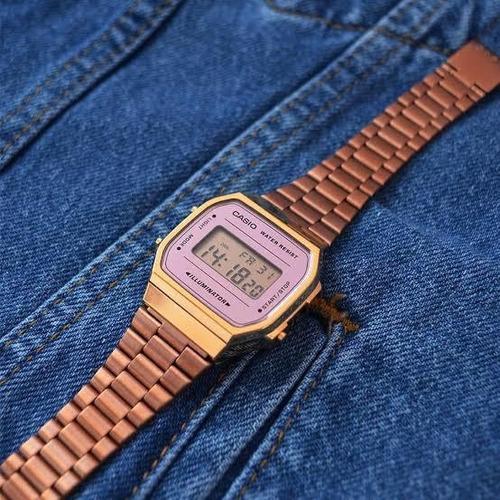 relógio casio vintage retro rosê wr 50m original garantia