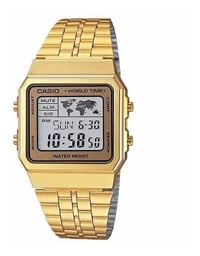 relógio casio vintage world time a500wga-9df - original