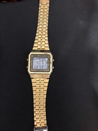 relógio casio vintage worldwide dourado