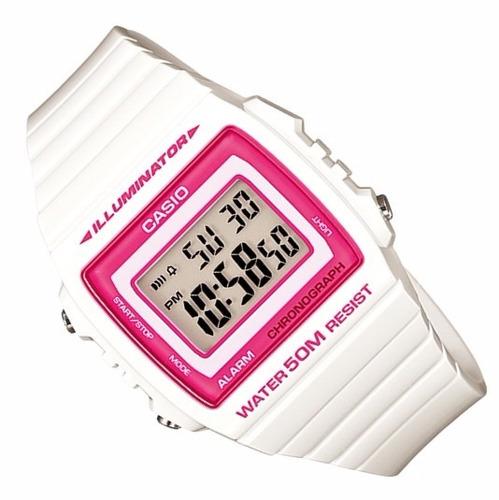 relogio casio w-215 h-7a2 alarme cronometro wr 50m b/rosa