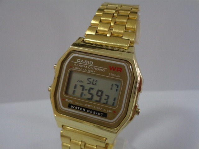 0cb89afdb80 Relógio Casio Wr Dourado Retro Vintage! - R  27