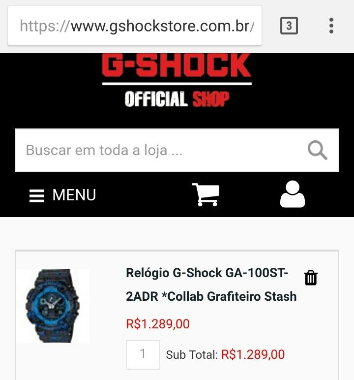 d6b1f5d31e7 Relógio Cassio G-shock Collab Stash Ga-100st-2adr - R  600