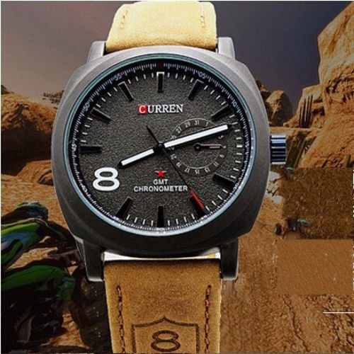 eb1b9e090d9 Relógio Casual Curren 8139 Quartz Em Couro Pronta Entrega - R  49