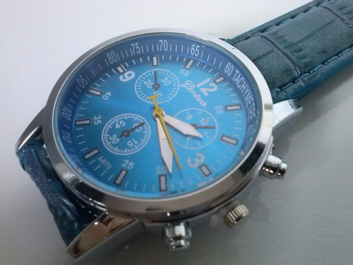 relógio casual masculino luxury geneva pulseira de couro