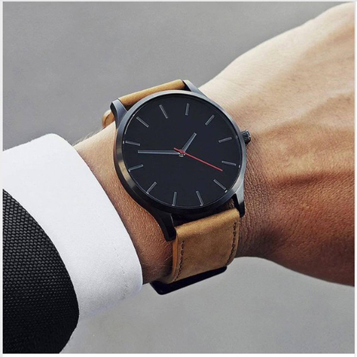 4bbcfefb7c4 Relógio Casual Masculino Pulseira De Couro Preta Quartz Dj01 - R  45 ...