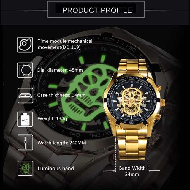5a4d27af8fa Relógio Caveira Ouro Automático Mecânico Esqueleto Masculino - R ...