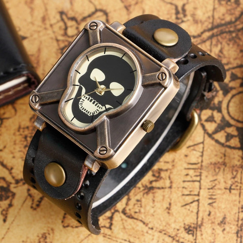 relógio caveira pulseira de couro preta