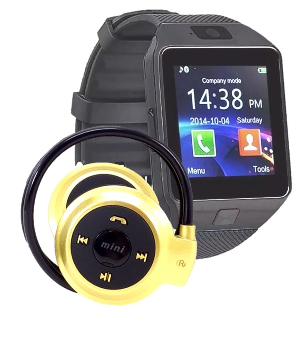 5a3c0f3afec Relógio Celular Chip Smartwatch Dz09 + Fone Ouvido Bluetooth - R  84 ...