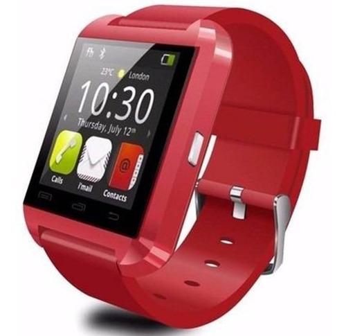 relógio celular inteligente smartwatch u8 vermelho bluetooth