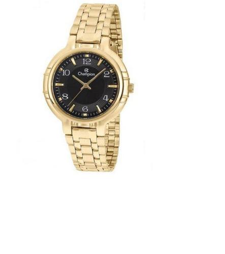relógio champion analógico feminino cn20444u dourado