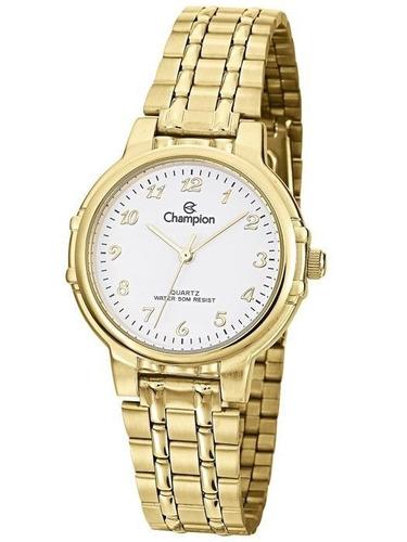 relógio champion analógico feminino cn28142h dourado