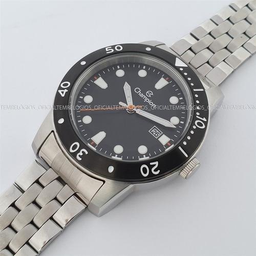 relógio champion ca31444c calendário kit pulseira