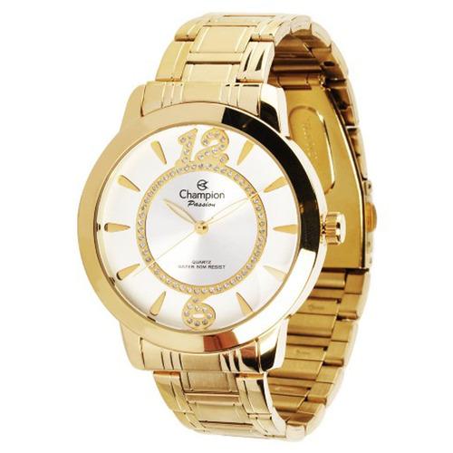 relógio champion ch24259d  feminino dourado + kit brinde