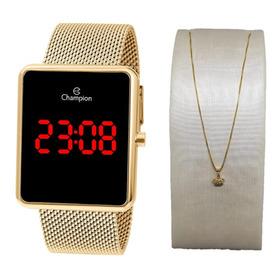 Relógio Champion Digital Led Dourado Ch40080j + Brinde
