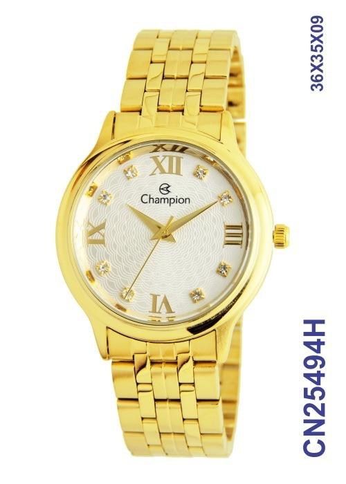 5c7123c8f1c Relogio Champion Dourado Feminino Cn25494h - R  175