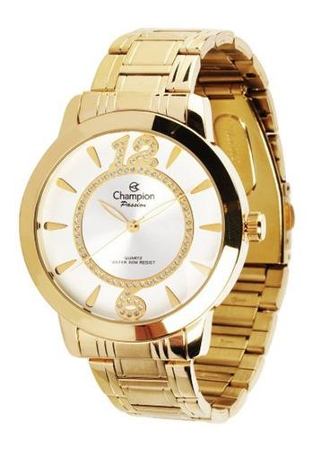 relógio champion dourado feminino original + colar brinco
