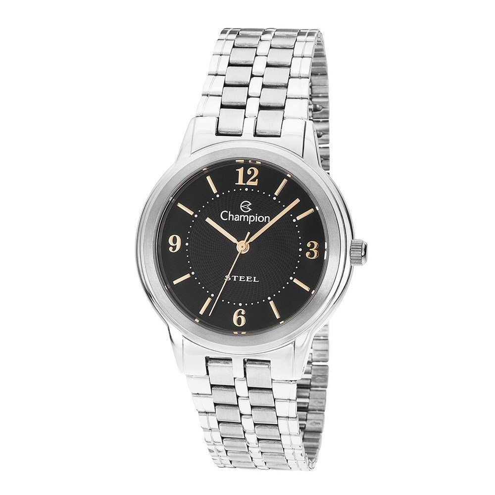 e7635b29045 Relógio Champion Feminino Aço Prata Fundo Preto Ca21704t - R  269