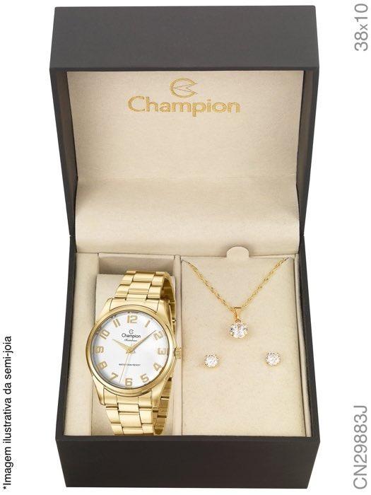 Kit Relógio Champion Feminino Com Colar E Brincos Cn29883j - R  189 ... 4f188a9c83