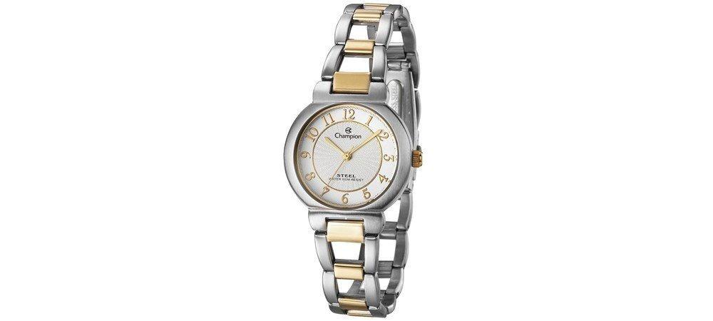 e86120ea7cc Relógio Champion Feminino Aço Prata Dourado Pequeno Cs28058s - R ...