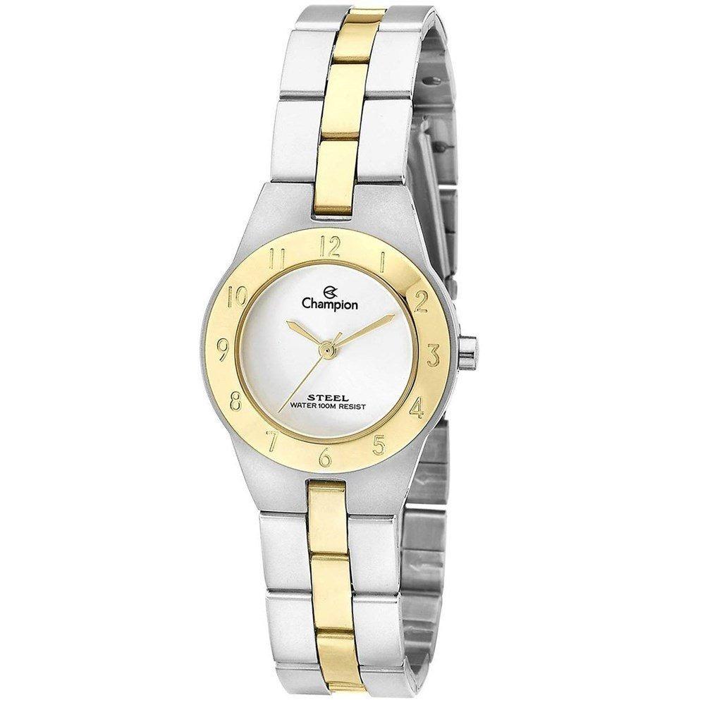 10536ce76e4 Relógio Champion Feminino Pequeno Aço Prata Dourado Ca28378s - R ...