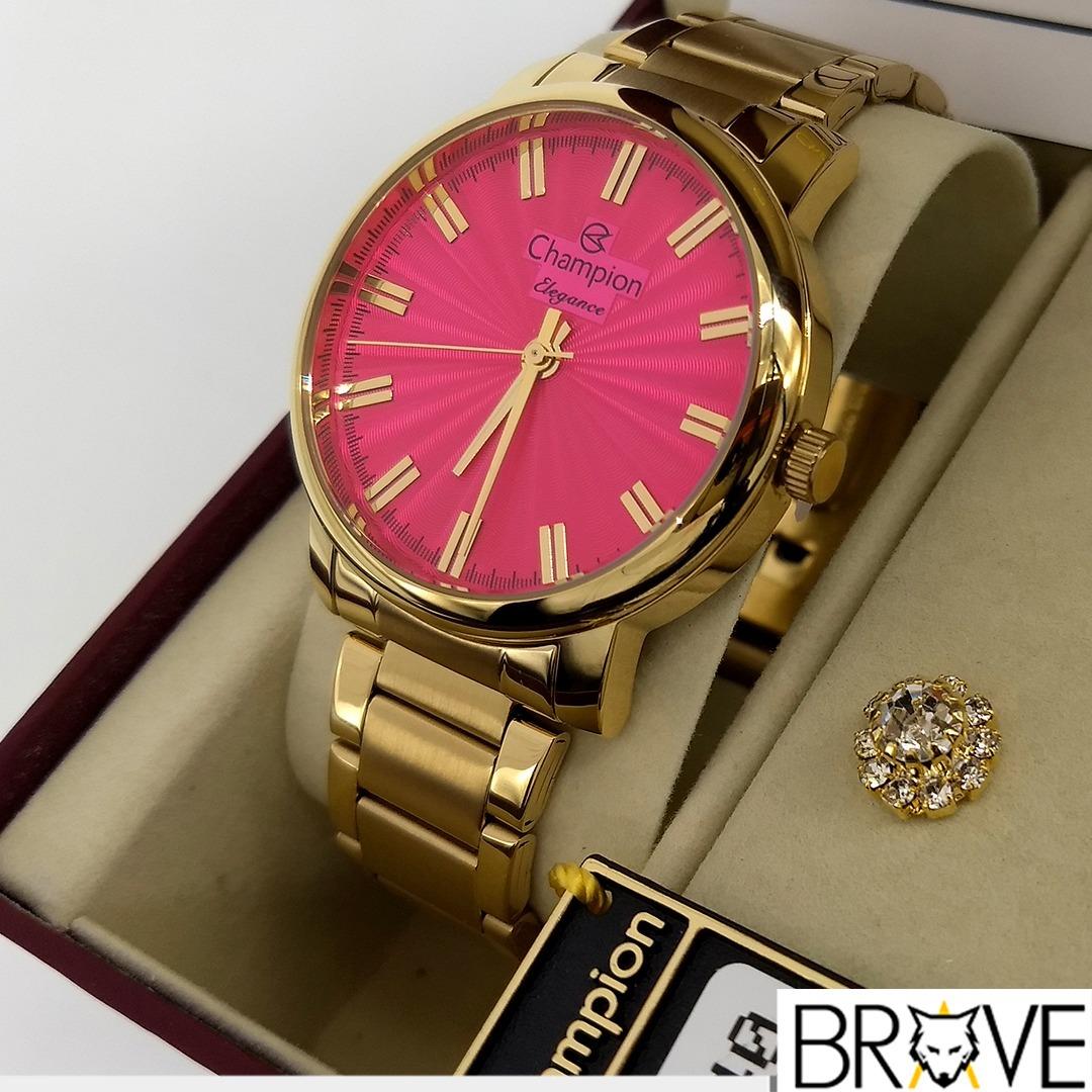 8875fb131dc Relógio Champion Feminino Dourado Rosa Original Garantia - R  192