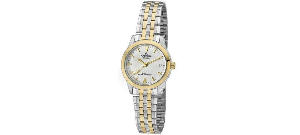 772bb2762c9 Relógio Champion Feminino Pequeno Aço Prata Dourado Ca28734b - R ...