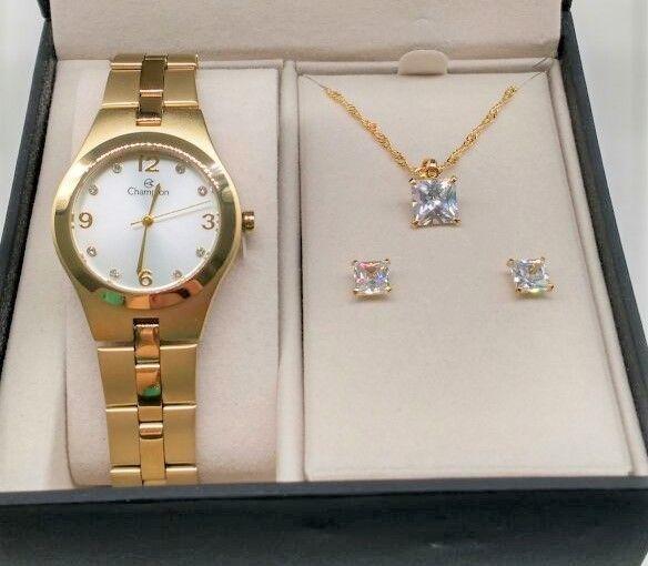 989c4920ea4 Relógio Champion Feminino Aço Dourado Visor Prata Cn25467w - R  198 ...