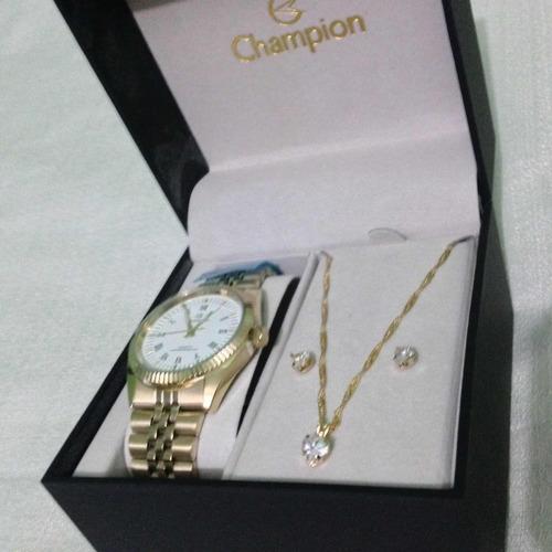 relógio champion feminino analógico+colar e par de brincos!