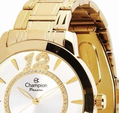 relógio champion feminino brinco e colar banhado ouro 18k