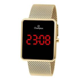 Relógio Champion Feminino Ch40080v Retangular Led Dourado