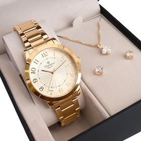 Relógio Champion Feminino Cn27269w + Colar E Brincos Nf-e