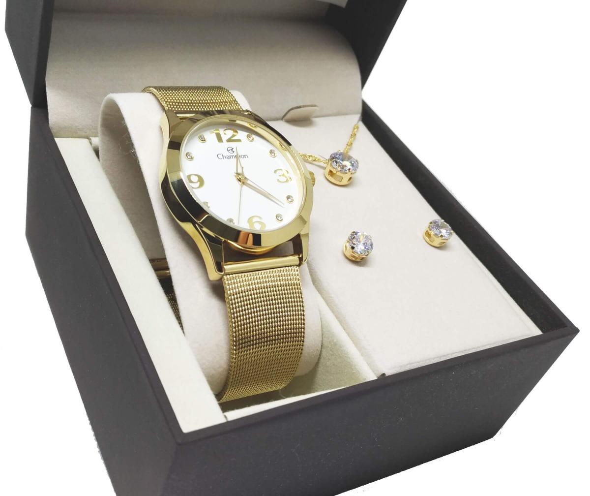 a31b1b21b Relógio Champion Feminino Cn29098w Com Kit Colar E Brincos - R$ 194 ...
