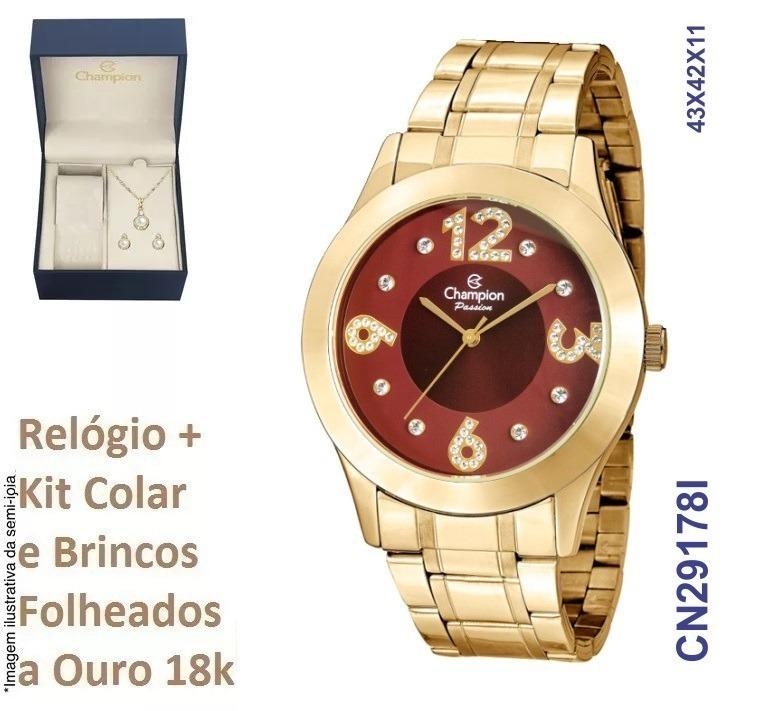 6e5063885ea Relógio Champion Feminino Cn29178i Dourado + Kit Brinde - R  215
