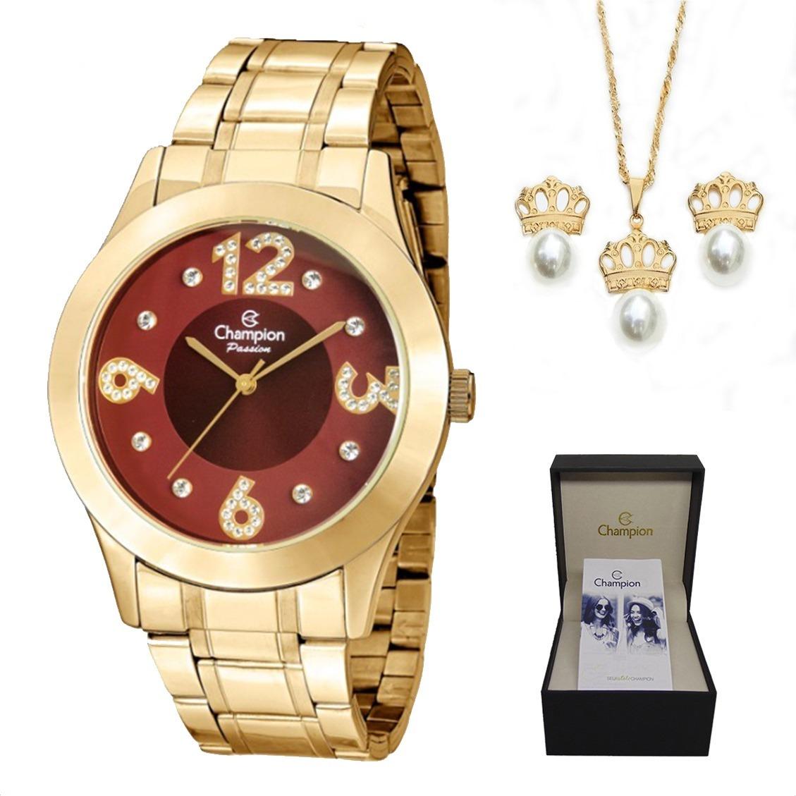 c6155fa450d relógio champion feminino cn29178i dourado + kit brinde. Carregando zoom.