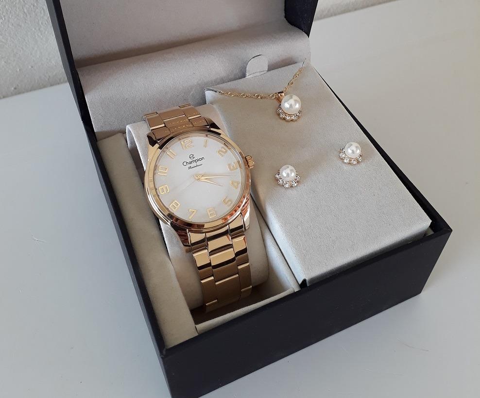 ace8ab284a0 relógio champion feminino cn29883j - kit colar e brincos. Carregando zoom.